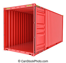 Open shipping container isolated on white
