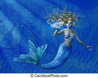 profundo, mar, sereia