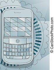 Push-button telephone. abstract communication vector...