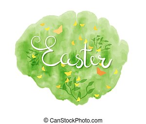Happy Easter lettering typography. Seasons Greetings - Hand...