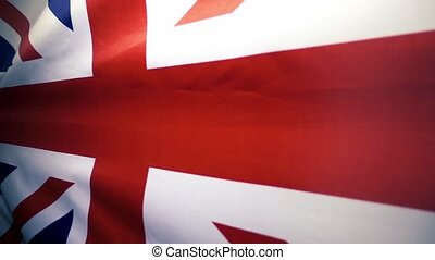 The flag of Great Britain is waving. Slow mo. - Flag of the...