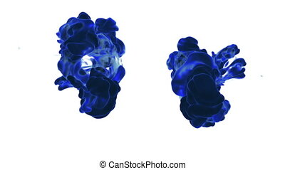 Colorful ink in water, blue ink drop. Use it for background, transition or overlays. 3d motion graphics element VFX ink or smoke. version 18