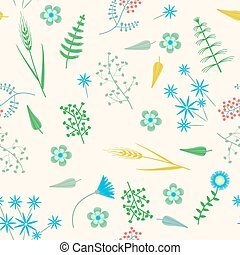 Vector Embroidery seamless pattern with Forest plants and Field wildflowers.