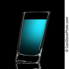 Silhouette of colorful glass for shot on black - Silhouette...