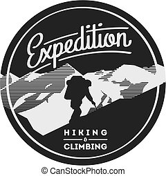 Extreme outdoor adventure badge. High mountains...