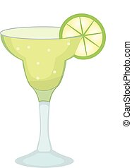 Cocktail glass for Margarita and tequila with lime slice icon flat, cartoon style. Drink isolated on white background. Alcoholic cocktail. Vector illustration.