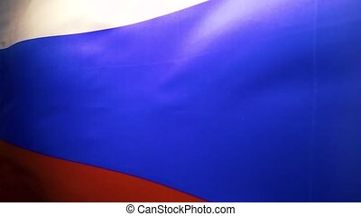 The cloth flag of the Russian Federation flutters. Slow motion