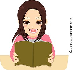 Exam Studying Girl - Illustration of a young teenager...