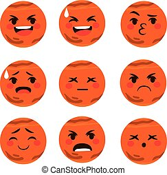 Mars Emoji Expressions - Set collection of cute different...