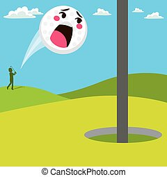 Screaming Golf Ball - Screaming golf ball scared after being...