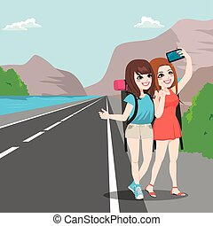 Travel Girl Friends Hitchhiking