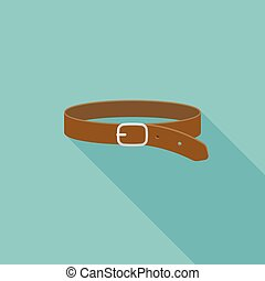 Leather Belt icon, flat design with long shadow