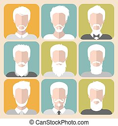 Vector set of different old man with gray hair app icons in...
