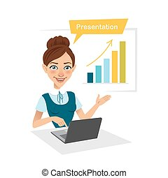 Girl is showing process of profit growth on chart.
