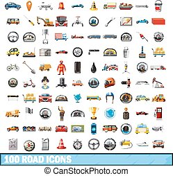 100 road icons set, cartoon style - 100 road icons set in...