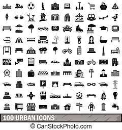 100 urban icons set, simple style - 100 urban icons set in...