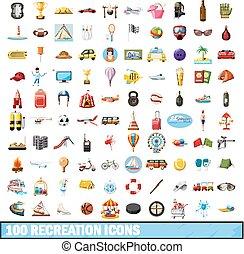 100 recreation icons set, cartoon style