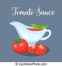Saucers with tomato sauce and vegetables. Vector...