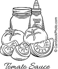 Hand drawn tomato sauce, ketchup in glass jar with...