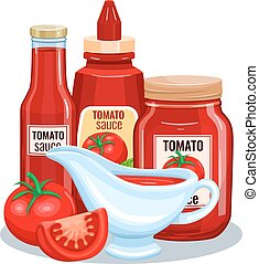 Tomato sauce, ketchup in glass jar with vegetable. Vector...