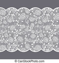 Lace pattern with roses on gray background
