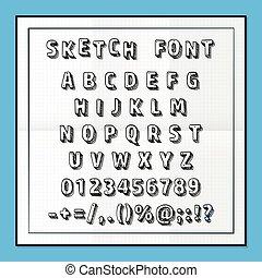 Sketch font set on paper abc sign, Vector illustration