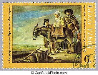 Nain - Milkmaids Family - USSR - CIRCA 1972: A stamp printed...