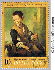 Murillo - Boy with dog - USSR - CIRCA 1972: A stamp printed...