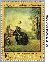 Watteau - The Capricious Girl - USSR - CIRCA 1972: A stamp...