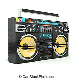 Urban boombox tape recorder 80s isolated on white background...