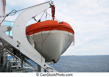 lifeboat on the ship against sky horizontal