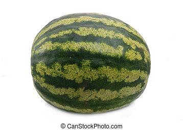 water-melon - The big green striped water-melon on a white...