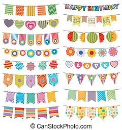 Bunting flags kid party vector decoration. Color pennant...