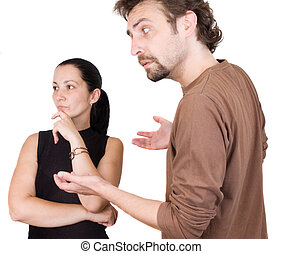 conflict - Wife and husband yelling to each other
