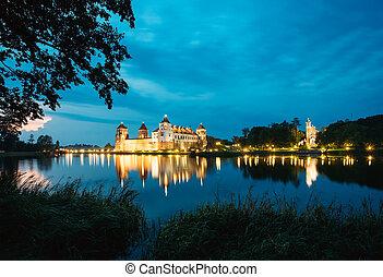 tarde, Belarus, brillante, Complejo, castillo, mir,...