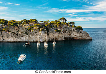 White Yachts Boats In Bay. Nature Of Calanques On The Azure...