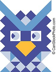 Mosaic style colorful owl illustration