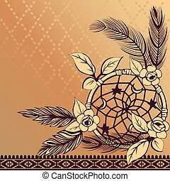 Dream Catcher with Feathers - Vector of dream catcher with...