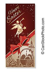 Happy Easter. Festive flyer with a flying angel