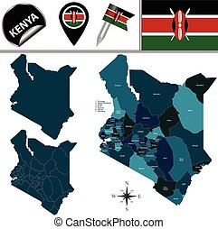 Map of Kenya with Named Counties - Vector map of Kenya with...