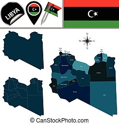 Map of Libya with Named Districts