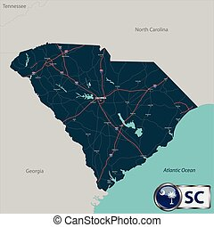 Map of state South Carolina, USA