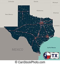 Map of state Texas, USA - Vector set of Texas state with...