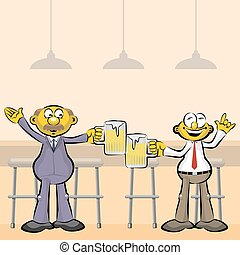 Men drinking beer in the bar