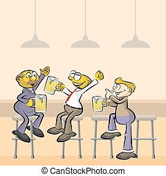 Men drinking beer in the pub