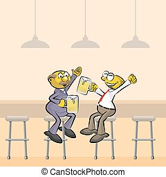 Two Men drinking beer in the bar