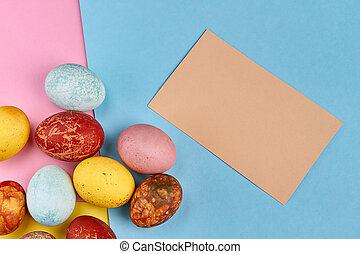 Easter eggs with blank card.
