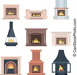 Collection of home different fireplaces to paste in the interior of the house phone or computer games. Vector illustration isolated on white background