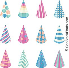 Party different hats collection for a birthday celebration, new year and other holidays. Vector illustration