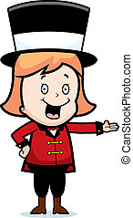 Child Ringmaster - A happy cartoon child ringmaster smiling...